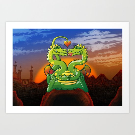 Dragons Madly in Love Art Print