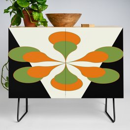 Mid-Century Modern Art 1.4 - Green & Orange Flower Credenza