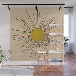 Mid-Century Modern Sunburst - Minimalist Abstract Sun in Mid Mod Mustard, Orange, Olive, Blue, and Beige Wall Mural