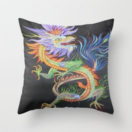 Bright and Vivid Chinese Fire Dragon Throw Pillow