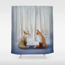 Valentine's Day Foxes Shower Curtain