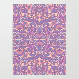 Purple Vines Folk Art Flower Pattern Poster