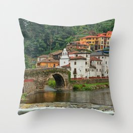 Stone Bridge Asturias Spain Throw Pillow
