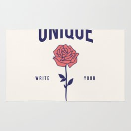 Cool Vintage Quote Be Unique Flower Rose Rug