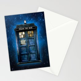 Beautiful tardis with yellow stained glass windows Stationery Cards