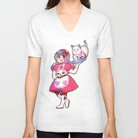 bee and puppycat V-neck T-shirts featuring bee & puppycat by SERAPHIC ROYALTY