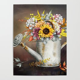Farm Sunflowers in Watering Can Poster