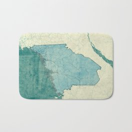 Maine State Map Blue Vintage Bath Mat