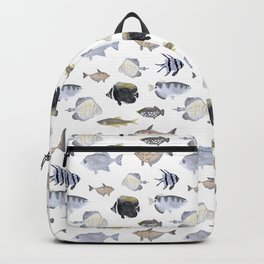 Fish Pattern - Blue & Gray Watercolor Theme Backpack