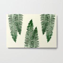 Green Vintage Forest Ferns Metal Print