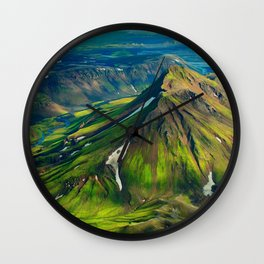 Green Mountain Iceland Wall Clock