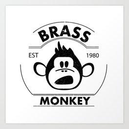 Brass monkey - vintage logo style with grange texture Art Print