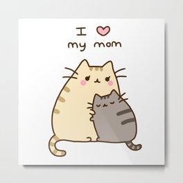 i love my mom cute cat Metal Print