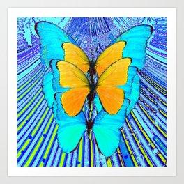 CONTEMPORARY BLUE & YELLOW BUTTERFLIES GRAPHIC ART Art Print