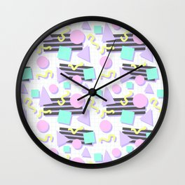 Pastel Retro 80s/90s Geometric Pattern Wall Clock