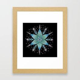 Snowflake Mandala (on black) Framed Art Print