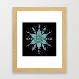 Snowflake Mandala (on black) Framed Art Print