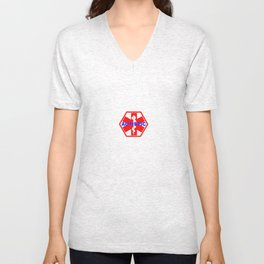 AUTISM medical alert identification tag Unisex V-Neck