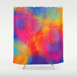 Bohemian 1960's Psychedelic Abstract Splatter Design Shower Curtain