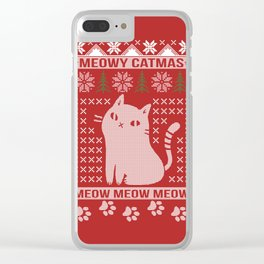 MEOWY CATMAS Clear iPhone Case