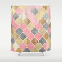 bedding Shower Curtains featuring Silver Grey, Soft Pink, Wood & Gold Moroccan Pattern by micklyn