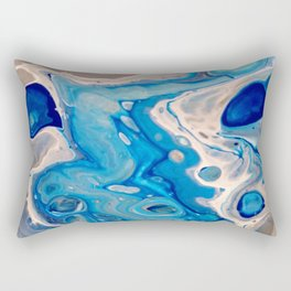 Blue and Silver Fluid Abstract - Silver Lining Rectangular Pillow