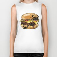 burger Biker Tanks featuring Pugs Burger by Huebucket