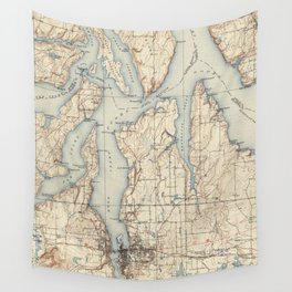 Vintage Map of The Puget Sound (1934) Wall Tapestry
