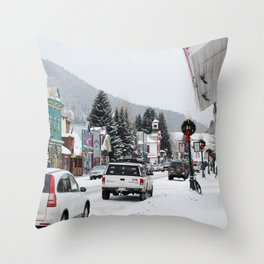 Downtown Crested Butte, Colorado During Winter Time Throw Pillow