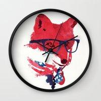 american Wall Clocks featuring American Fox by Robert Farkas