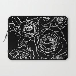 Feminine and Romantic Rose Pattern Line Work Illustration on Black Laptop Sleeve