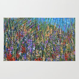 Abstract Floral Art, Seagrass Rug