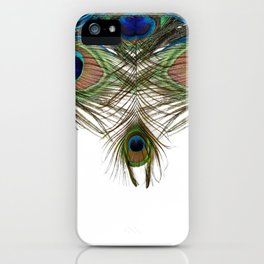 BLUE-GREEN PEACOCK FEATHERS WHITE ART iPhone Case