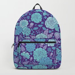 Bright Blue & Purple Floral Print Backpack
