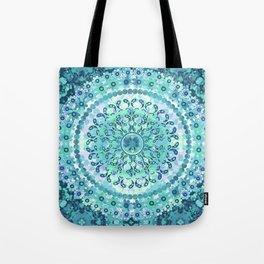 Aqua Mosaic Mandala Tote Bag