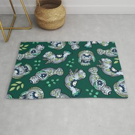 Majestic Folk Art Manatees - Pattern on Green Rug