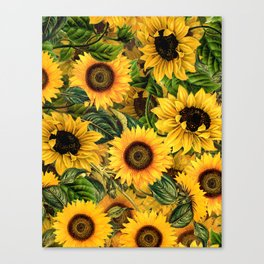 Vintage & Shabby Chic - Noon Sunflowers Garden Canvas Print
