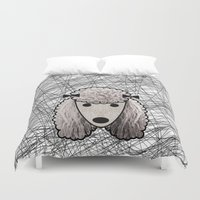 poodle Duvet Covers featuring Poodle Dog by lllg