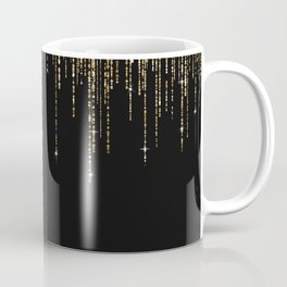 Luxury Chic Black Gold Sparkly Glitter Fringe Coffee Mug
