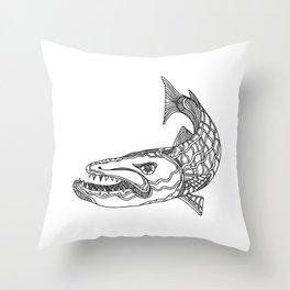 Barracuda Fish Doodle Art Throw Pillow