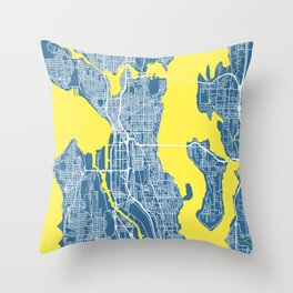SEATTLE City Map | Minnesota US | Blue | More Colors, Review My Collections Throw Pillow