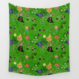 Cycledelic Green Wall Tapestry