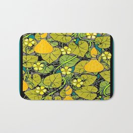 Green Art Nouveau Vines Gourds Floral Teal Art Bath Mat
