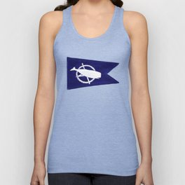 Nantucket Blue and White Sperm Whale Burgee Flag Hand-Painted Unisex Tank Top