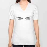 cactei V-neck T-shirts featuring Cara Brows by ☿ cactei ☿