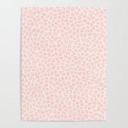 Modern ivory blush pink girly cheetah animal print pattern Poster