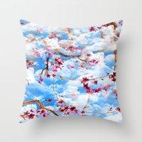 sakura Throw Pillows featuring SAKURA by sametsevincer