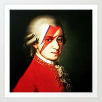 mozart Art Prints featuring Mozart Bowie by rodalume
