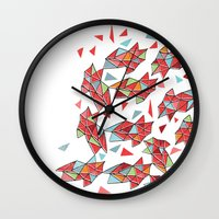 triangles Wall Clocks featuring triangles by Matthew Taylor Wilson