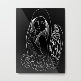 Crying Angel with Cross Metal Print